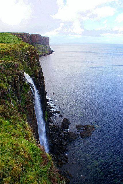 Venezuela? Angel Falls? This is the 60-metre-high Mealt Falls on the Isle of Skye. The imposing cliffs in the background are Kilt Rock, a rocky outcrop with vertical basalt columns said to resemble a pleated kilt.