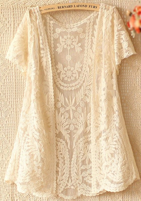 Beige Flowers Hollow-out V-neck Short Sleeve Lace Cardigan - Tops