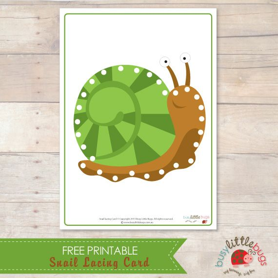 Snail Lacing Card - love this website!! Super cute and super fun for little ones