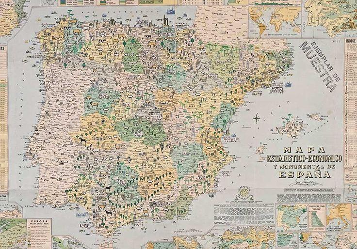 El mapa estadístico-económico y monumental de España. | 24 mapas locos que muestran España como nunca la habías visto