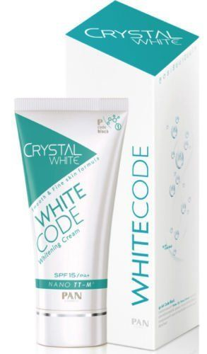 5x PAN Cosmetic Crystal White Whitecode Natural Whitening Cream P Code Block Best Product From Thailand by Thailand shopping. $220.00. 5X PAN COSMETIC CRYSTAL WHITE WHITECODE NATURAL WHITENING CREAM P CODE BLOCK  Best Product From Thailand. Brand: Crystal White (by Pan Cosmetic)  Type: Facial whitening cream  Variant: Whitecode whitening cream  Product features:     Skin care cream helps decode the white, white, smooth, clear skin. Sparkling like crystal. Light ...