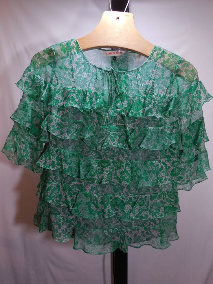 MISSES REBECCA TAYLOR 100% SILK GREEN LACE PRINT RUFFLED TIER BOUSE 4 $230 #RebeccaTaylor #Blouse