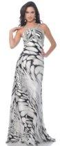 Zeilei 4067 Black White Satin Halter Pageant Prom Dress
