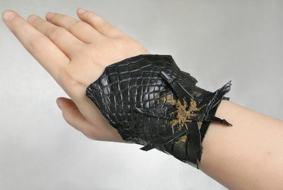 Black Leather Cuff Bracelet Crocodile Leather Arm by Elyseeart