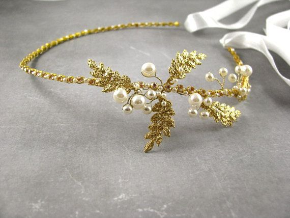 Check out this item in my Etsy shop https://www.etsy.com/listing/475395741/golden-wedding-tiara-vine-bridal-hair