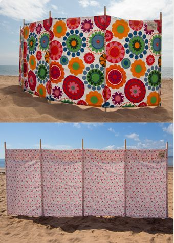 The Camping Luxury ! Great for the beach - makes it easy for the kids to spot you! Or just to make a secluded haven for sunbathing in the garden. The windbreaks are made from 100% cotton (washable) with sturdy, metal-tipped wooden poles. Every windbreak comes with a carry bag to make life a little easier. Choose from 2 designs, Funky floral or Vintage Rose.