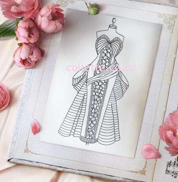 monique dress adult coloring page to by collettebycollette on etsy