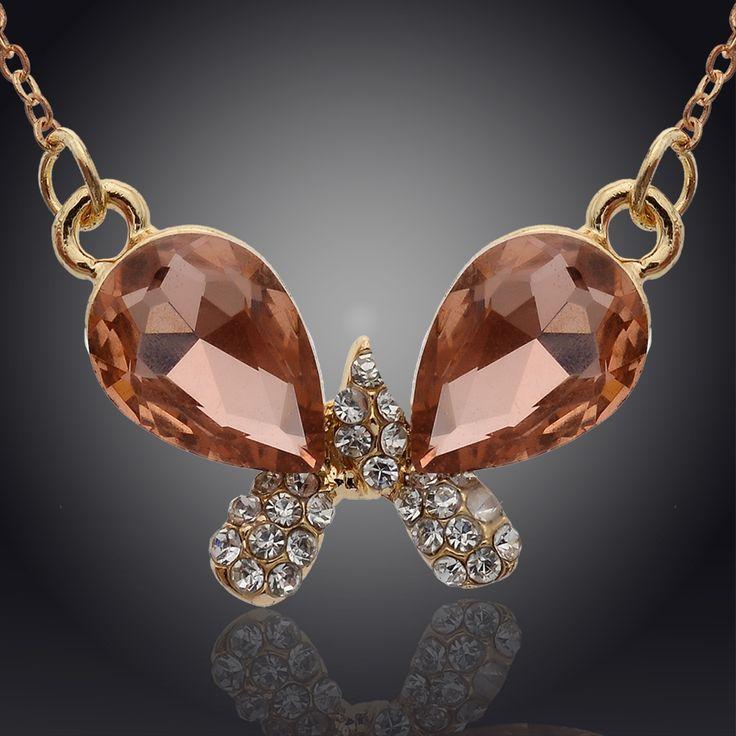Ас подарки 4 цвета бабочка кристалл кулон ожерелье ювелирные изделия цепь ожерелье для женщины ювелирные изделия
