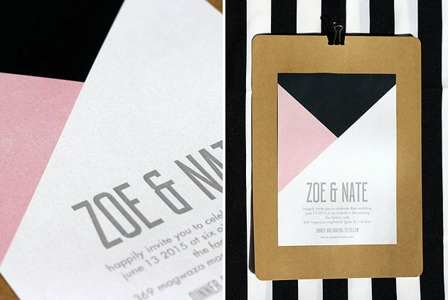 Leo & Ness | Wedding + Event Stationery | Minimalist Neo Colour block Invitation on shimmer pearl card
