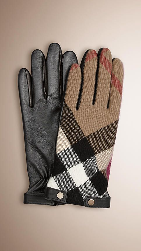 Burberry Check wool touch screen gloves with smooth leather palms and trim Embedded with micro-conductors for use with iPhones and other touch screen technology. Discover more accessories at Burberry.com