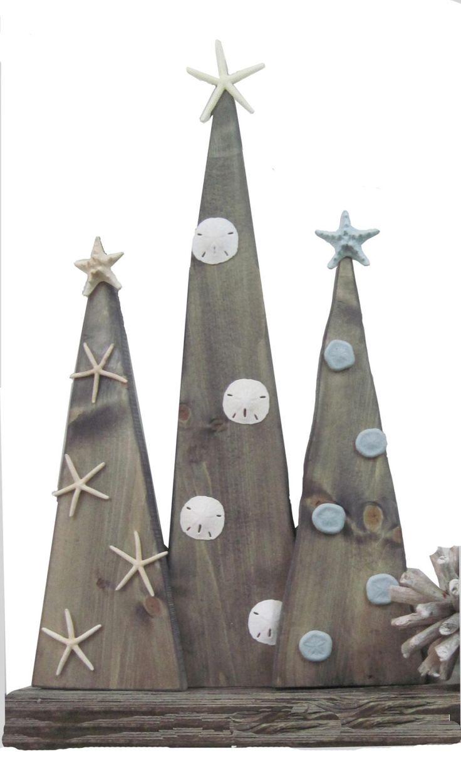 coastal wood christmas trees, coastal christmas, christmas tree, wooden tree, starfish, sand dollar, coastal decor, nautical christmas, merry chirstmas