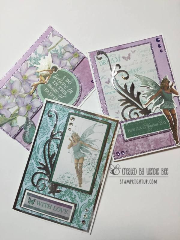 Kaisercraft Fairydust fairy handmade lavender purple glitter 4bar note card collection created by Wendie Bee of Stamp Right Up