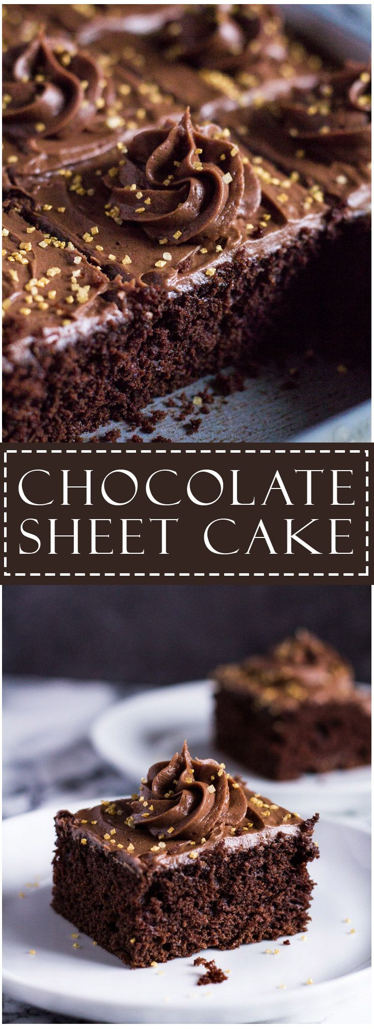 Chocolate Sheet Cake | marshasbakingaddiction.com @marshasbakeblog