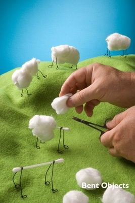 C is for Curious Cottonball Creatures - BENT OBJECTS by terry border
