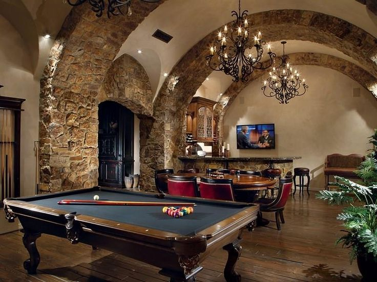 Mediterranean game room with stone accents and hardwood for Rec room pools