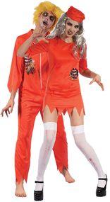 Couples Zombie Prisoner Fancy Dress Costumes