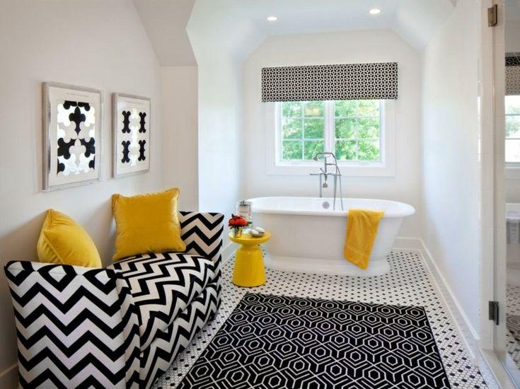 idées déco salle de bain - canapé droit à motifs chevrons ...