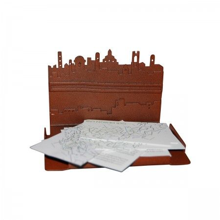 Lacrom - Giulia Bombardieri - Post-it Note Holder In molded and painted perforated sheet metal reproducing the skyline of the city of Bergamo.