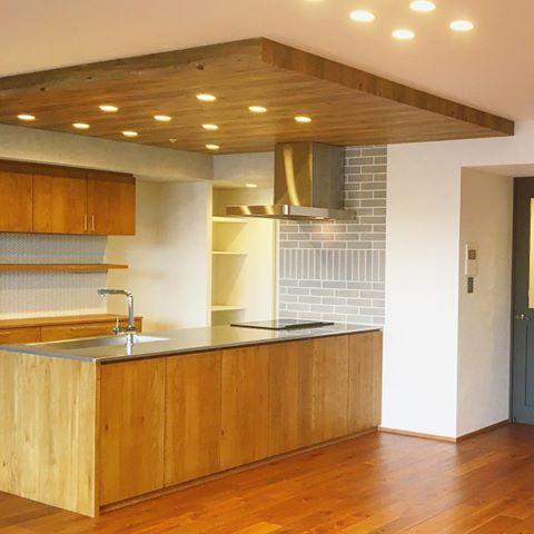 下がり天井 クロス の画像検索結果 下がり天井 キッチンデザイン リビング キッチン