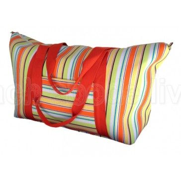 Extra Large Beach Bag 'Splice' Orange, Yellow & Green Striped Cotton Canvas
