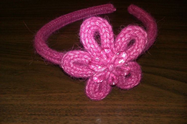 French Knitting Flowers : French knitted headband with flower https facebook