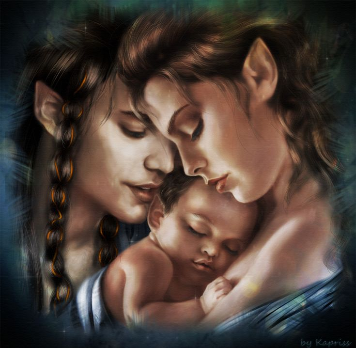 Fingon with his wife and son Gil-Galad by Kaprriss.deviantart.com on @DeviantArt