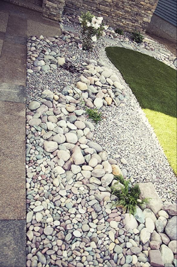17 best images about dry creek bed on pinterest gardens for Different color rocks for landscaping