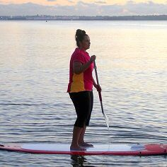 FUN FUN FUN! SUP is great for core, balance & tone. Sun protection SP50+ & quick dry Tutti Frutti Tee & Relax Capri Tight. ON SALE - 40% OFF http://blitzactive.com.au/just-in/tutti-frutti-tee-cherry.html  Feel good,look great - sizes 16-26 Made in Australia  #blitzactive #blitzactivewear #plussizeactivewear #plussizeworkout #sup #feelgoodlookgreat