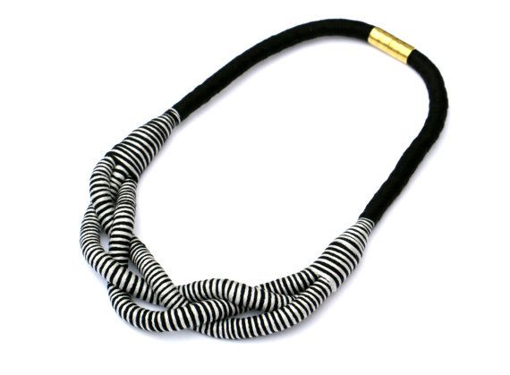 Rope necklace gray black fabric braided rope necklace by MyBeata