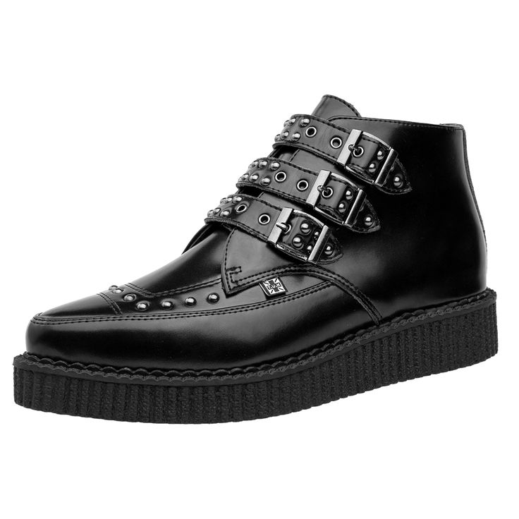 A9114 T.U.K. Shoes 3 Buckle Black Leather Studded Pointed Creepers