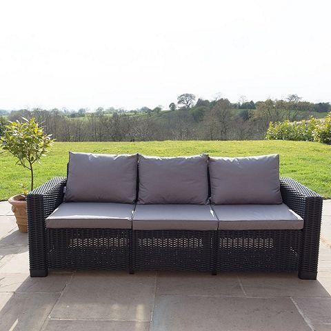 Tesco direct: Allibert California 3 Seater Sofa - Graphite Grey