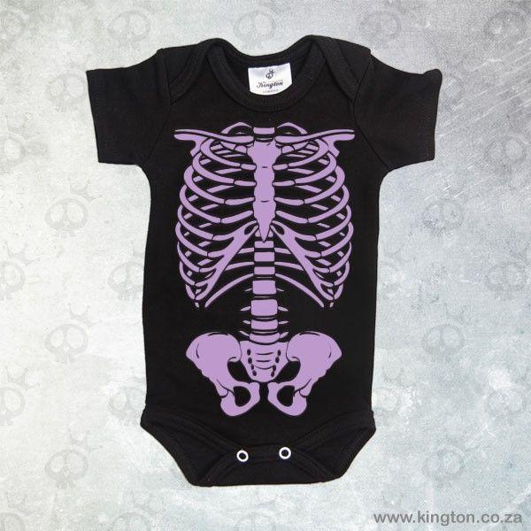 Skeleton black & purple - Black babygrow with purple #skeleton. #KingtonKustomKulture #Halloween