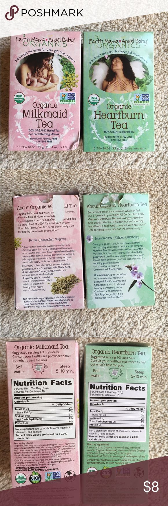 Earth mama angel baby Organics This tea helped a lot during and after pregnancy. The milkmaid tea has 4 tea bags left & heartburn tea has 12 left ✨✨✨ earth mama angel baby organics Other