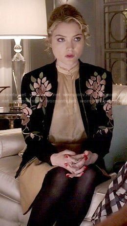 Grace's floral embroidered bomber jacket on Scream Queens.  Outfit Details: http://wornontv.net/51941/ #ScreamQueens