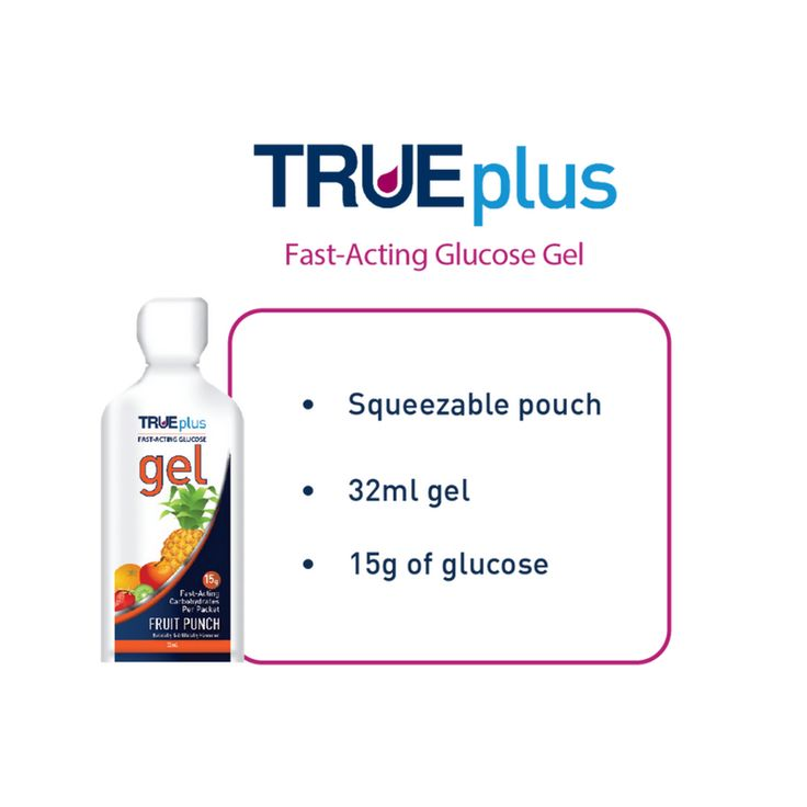 Our TRUEplus fast-acting fruit punch flavoured glucose gel and is available in a squeezable pouch. #diabetes