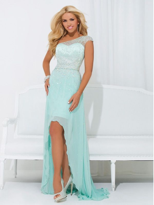 Inexpensive Asymmetrical Shoulder A-line Tiffany Blue Chiffon High Low Prom Dresses With Brush Train