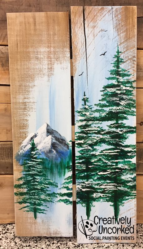 Mountain Pines Pallet Wood Painting | Creatively Uncorked | http://creativelyuncorked.com | Creatively Uncorked | http://creativelyuncorked.com