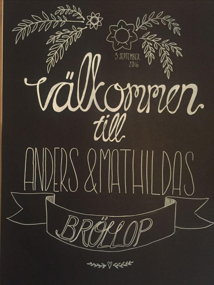 Vit tusch på svart botten #bröllop #wedding #whiteink