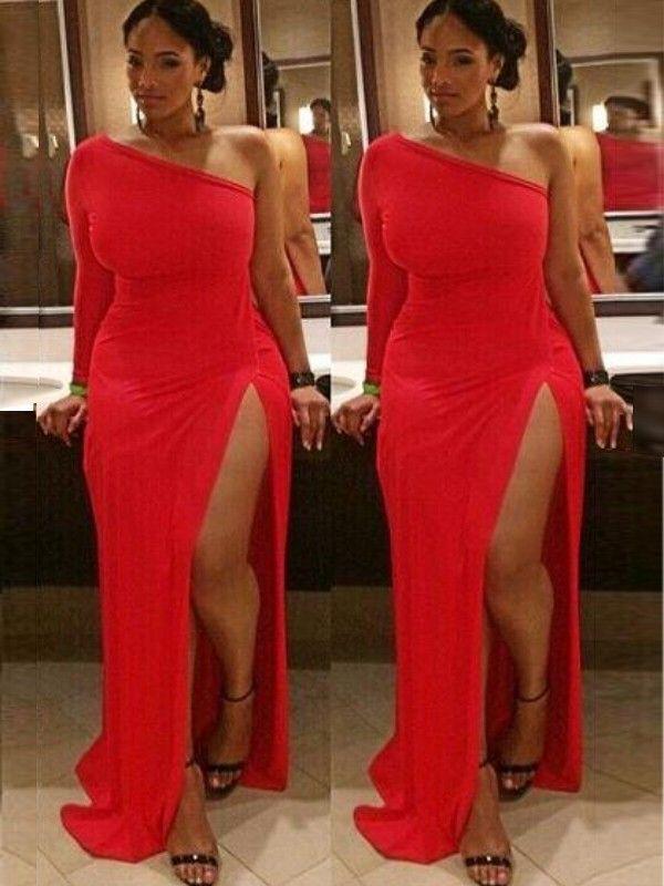 d3bd7018dcd Red Spandex Column One-Shoulder Long Sleeves Plus Size Prom Dress  Reddress   Spandex  Columndress one shoulder dress  plussizefashion  ddaydress   sexydress