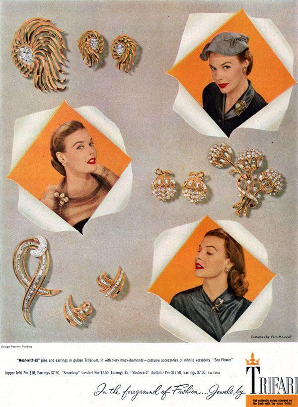 Trifari jewelry ad, 1951 - Sea Flowers, Snowdrop, Boulevard.