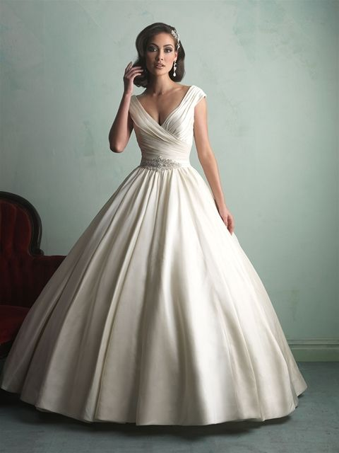Delicate Ball Gown V-neck Satin Ivory Wedding Dress with Sashes and Draped LWXT1404C