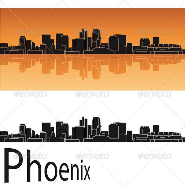 Phoenix Skyline in Orange Background