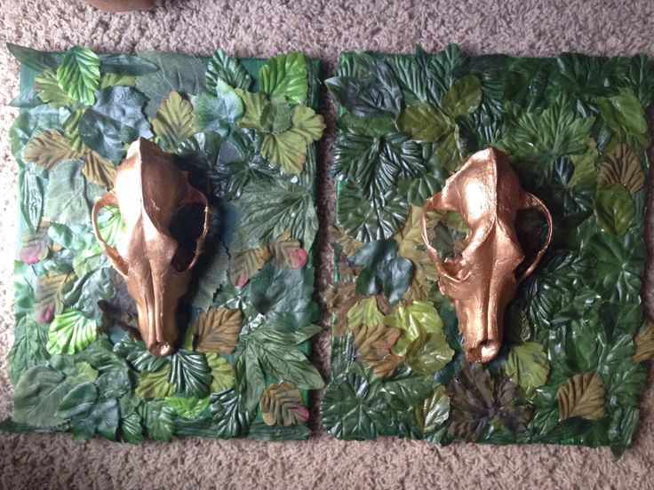 A personal favorite from my Etsy shop https://www.etsy.com/listing/521117874/gold-coyote-skull-on-textured-greenery