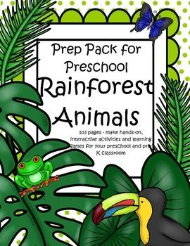 This is a comprehensive set of printables with a Rainforest Animals theme - make hands-on, interactive activities and learning games for your preschool and pre-K classroom. Engaging graphics, most activities are developmentally appropriate for ages 3 - 5, and SPED. 99 pages.