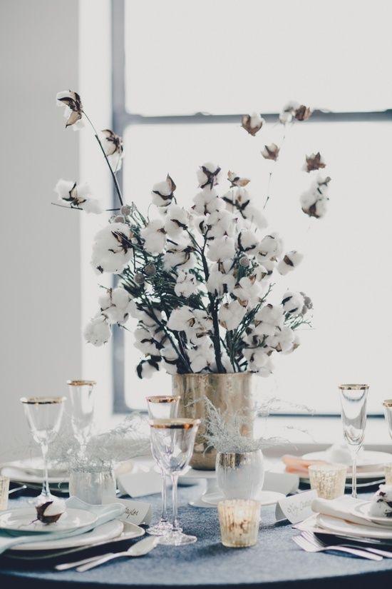 cotton branch wedding centerpiece 1