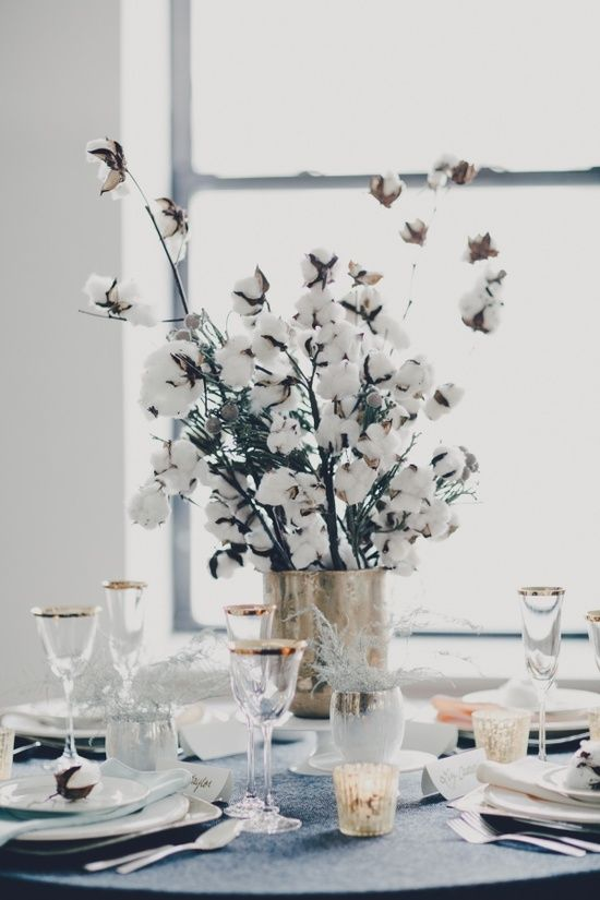 cotton branch wedding centerpiece 1