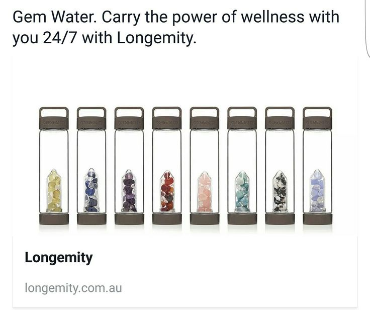 Longemity Water Bottle. Crystals infused in a interchangeable handmade artisan glass gem pod. Gemwater on the go 24/7.