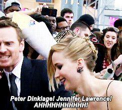 Michael Fassbender fangirling over Jennifer Lawrence at the X-Men: DoFP premiere in N.Y. Gif