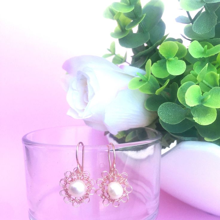 A personal favorite from my Etsy shop https://www.etsy.com/listing/519832192/wire-woven-rose-gold-mini-earrings-with