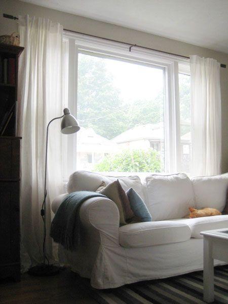 Ikea Ritva curtains in my BM Edgecomb Gray living room